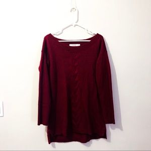 Dark red, boatneck, oversized sweater